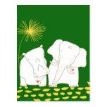 Elefante y hipopótamo minimalistas - amarillo y ve postal