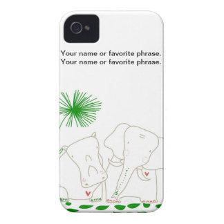 Elefante y hipopótamo minimalistas - verde y iPhone 4 Case-Mate carcasas
