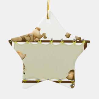 Elefante y marco adorno de cerámica en forma de estrella