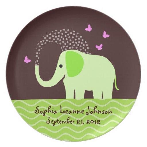 Elefante y mariposas de la niña platos para fiestas