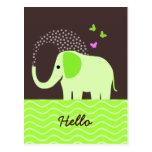 Elefante y mariposas lindos postal