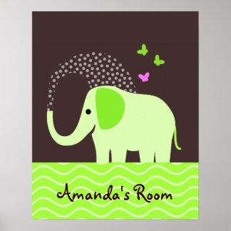 Elefante y mariposas lindos poster