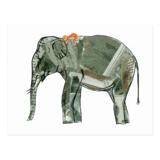 Elefante y mono tarjeta postal