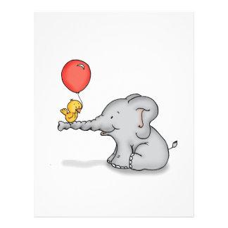 Elefante y pájaro membrete personalizado