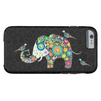 Elefante y pájaros florales retros coloridos funda de iPhone 6 tough