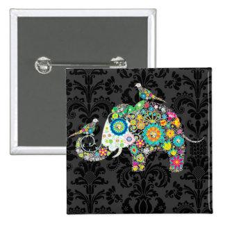 Elefante y pájaros florales retros coloridos pin cuadrada 5 cm