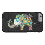 Elefante y pájaros retros coloridos de la flor funda de iPhone 6 barely there