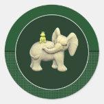 Elefante y rana del bebé pegatina redonda