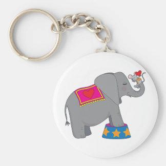 Elefante y ratón llavero redondo tipo pin
