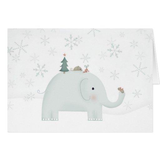 Elefante y ratón que intercambian regalos de Navid Felicitacion