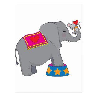 Elefante y ratón tarjeta postal