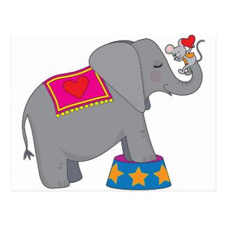 Elefante y ratón tarjetas postales