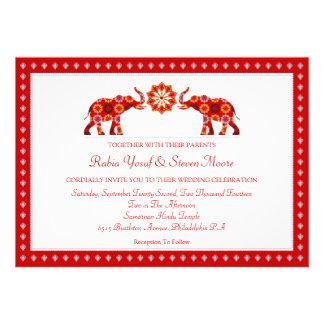 Elefantes adornados que casan la invitación