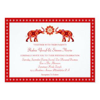 Elefantes adornados que casan la invitación invitación 12,7 x 17,8 cm