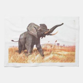 Elefantes africanos de los animales del destino de toallas de cocina