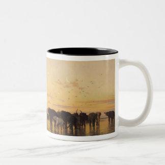 Elefantes africanos taza de café