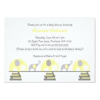 Elefantes amarillos y grises en fiesta de invitación 12,7 x 17,8 cm
