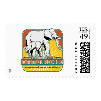 Elefantes animales del rescate estampilla