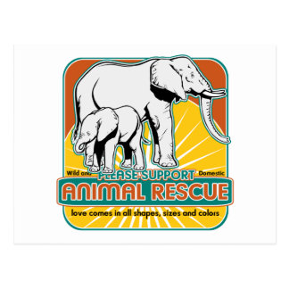 Elefantes animales del rescate postal