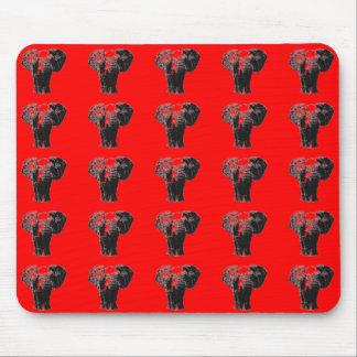 Elefantes asiáticos rojos Mousepad del arte pop