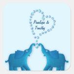 elefantes azules calcomanía cuadrada