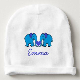 Elefantes azules conocidos personalizados que gorrito para bebe