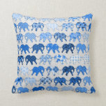 Elefantes azules del estampado de flores almohada