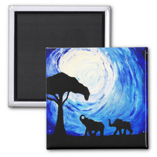 Elefantes bajo claro de luna (arte de K.Turnbull) Iman De Frigorífico