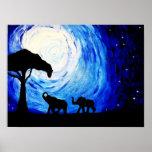 Elefantes bajo claro de luna (arte de K.Turnbull) Impresiones