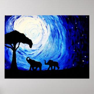 Elefantes bajo claro de luna arte de K Turnbull Impresiones