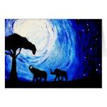 Elefantes bajo claro de luna (arte de K.Turnbull) Tarjetón