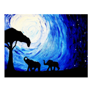 Elefantes bajo claro de luna (arte de K.Turnbull) Postal