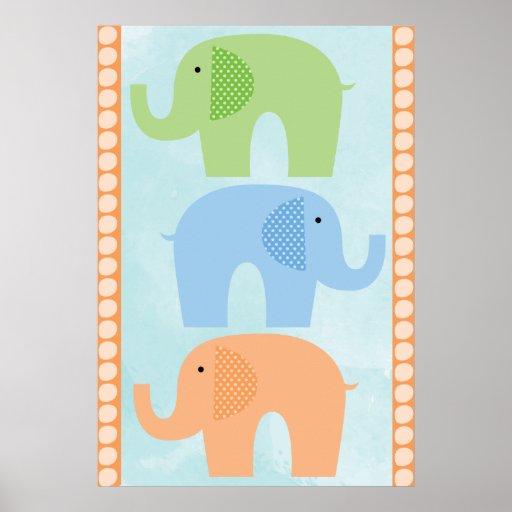 Elefantes bebé o poster del cuarto de niños del ch
