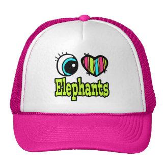 Elefantes brillantes del amor del corazón I del oj Gorras