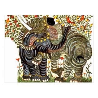 Elefantes cariñosos, adornados tarjetas postales