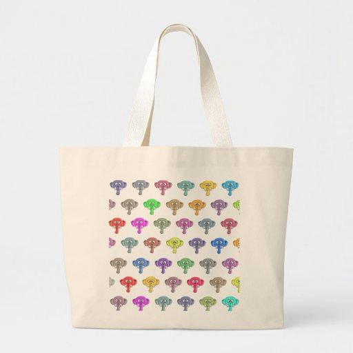 Elefantes coloridos bolsa tela grande