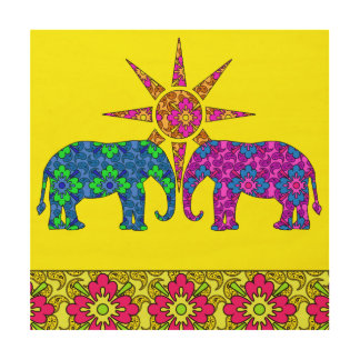 Elefantes coloridos brillantes de Paisley en Cuadros De Madera