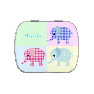 Elefantes coloridos del dibujo animado jarrones de caramelos