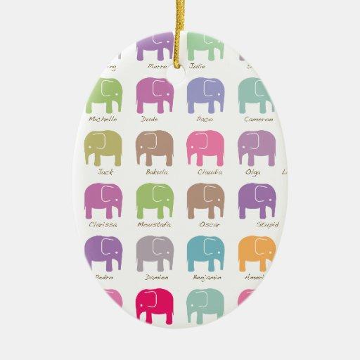 elefantes coloridos lindos adorno navideño ovalado de cerámica