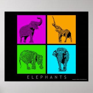 Elefantes coloridos póster
