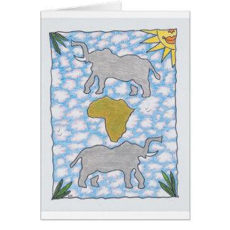 ELEFANTES de AFRIKA de Ruth I. Rubin Tarjetón