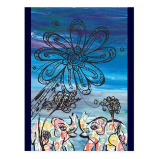 Elefantes de la flor postales