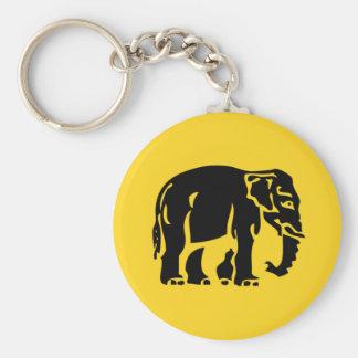 Elefantes de la precaución que cruzan el ⚠ llavero personalizado