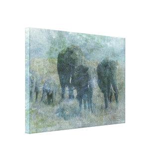 Elefantes de la tiza impresión en lona estirada