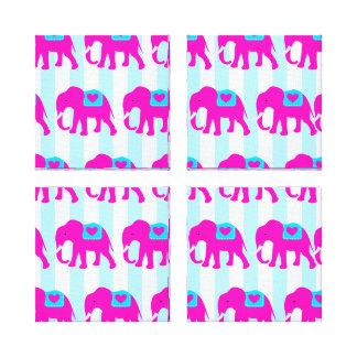 Elefantes de las azules turquesas del trullo de la impresiones en lona estiradas