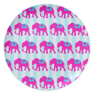 Elefantes de las azules turquesas del trullo de la platos