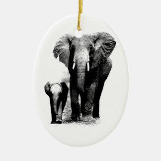 Elefantes Adorno Ovalado De Cerámica