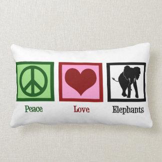 Elefantes del amor de la paz cojín