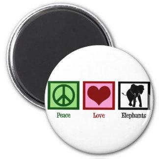 Elefantes del amor de la paz imán redondo 5 cm