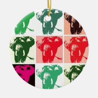Elefantes del arte pop adorno redondo de cerámica